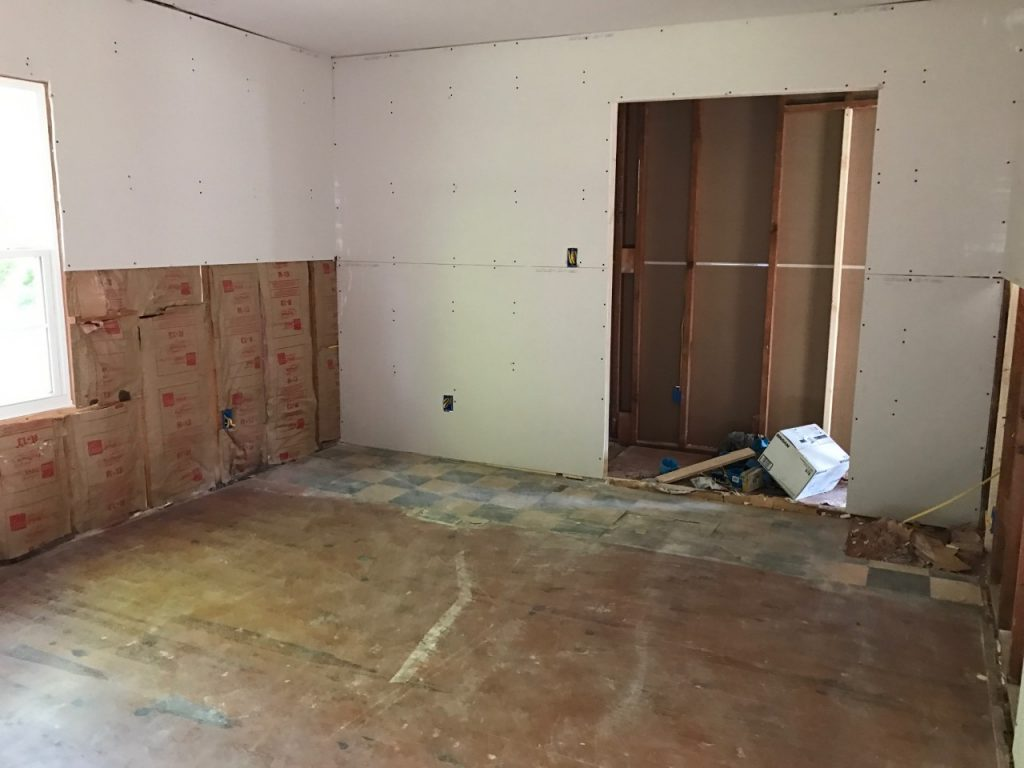 Master bedroom progress at the Cottage Charmer! Sheet rock up!
