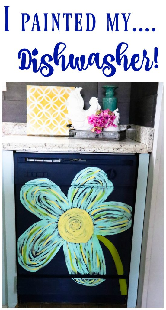 This dingy dishwasher was completely transformed with PAINT! You heard right...she painted her dishwasher! You have got to see this!!