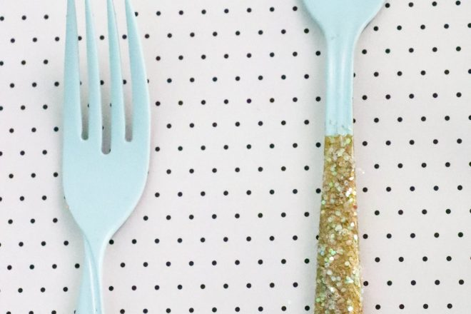 Gold Dipped Forks Kitchen Art