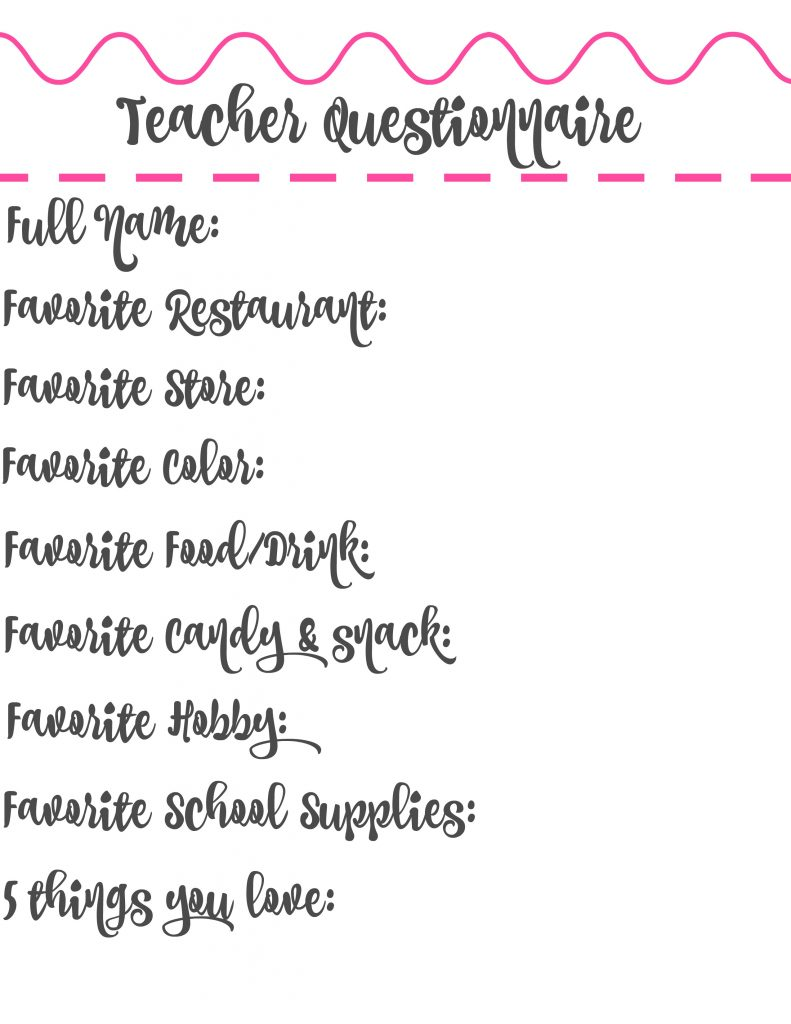 Teacher Questionnaire that will help you get to know your child's teacher and make gift giving a breeze this school year!