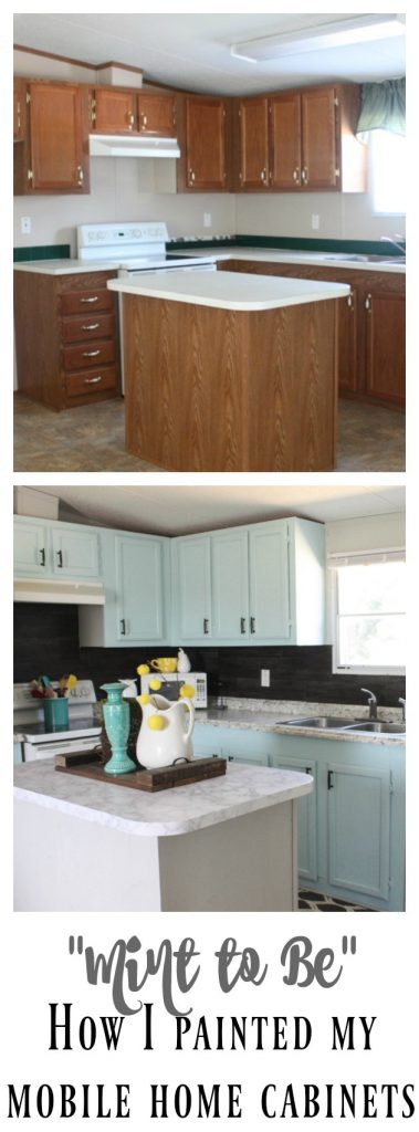 Mobile Home Cabinet Makeover using Mint to Be by Valspar! Get the ins and outs of how I painted these cabinets and made them go from DRAB to FAB!