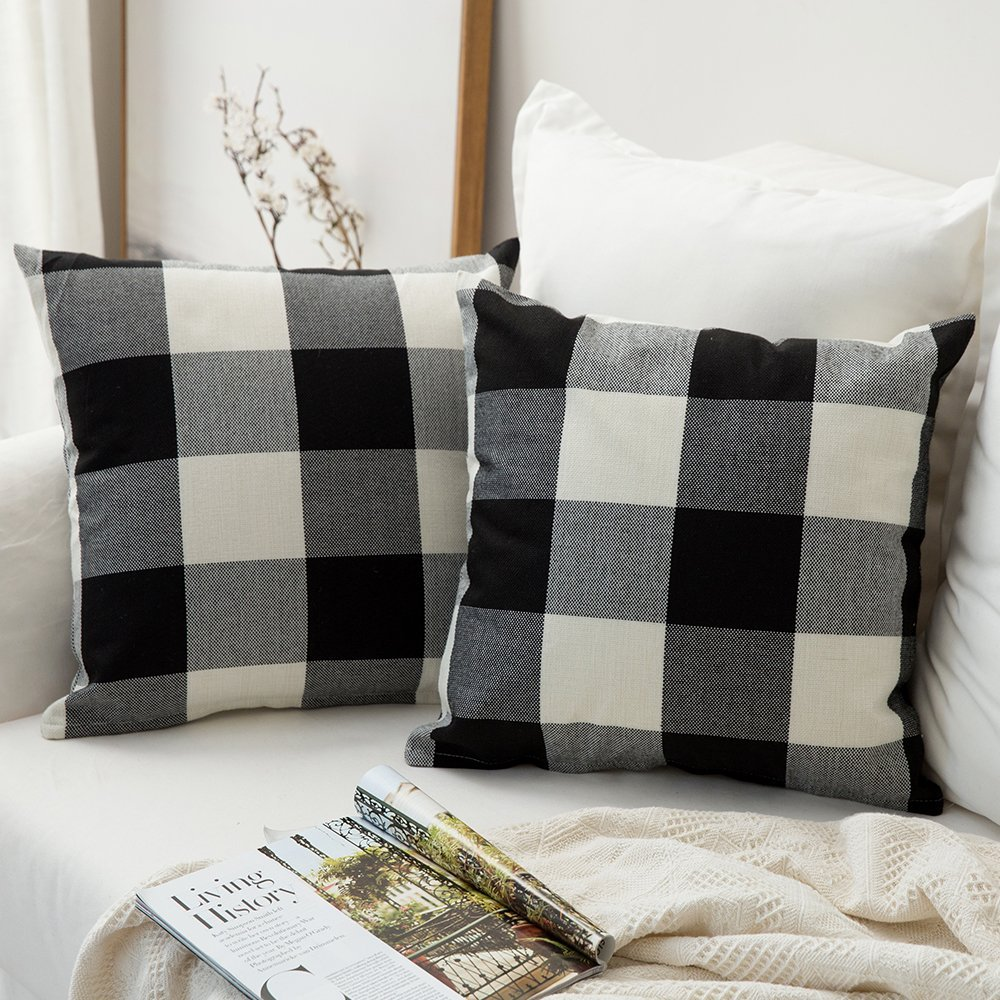black and white plaid pillow covers