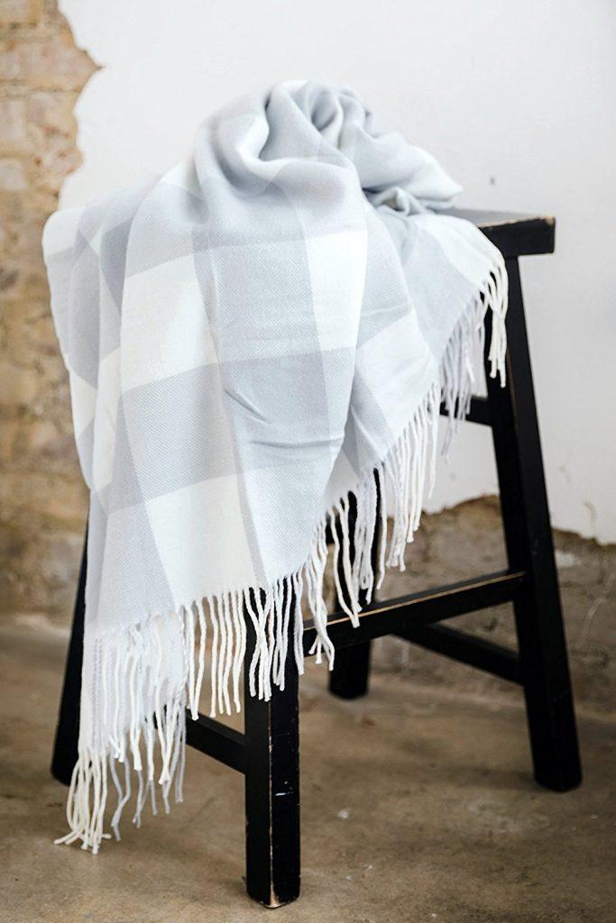 gray lightweight plaid blanket