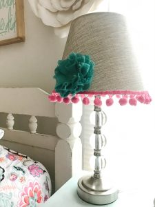 This super cute and easy DIY transformed this plain jane lamp into the cutest accessory for this little girl's room!