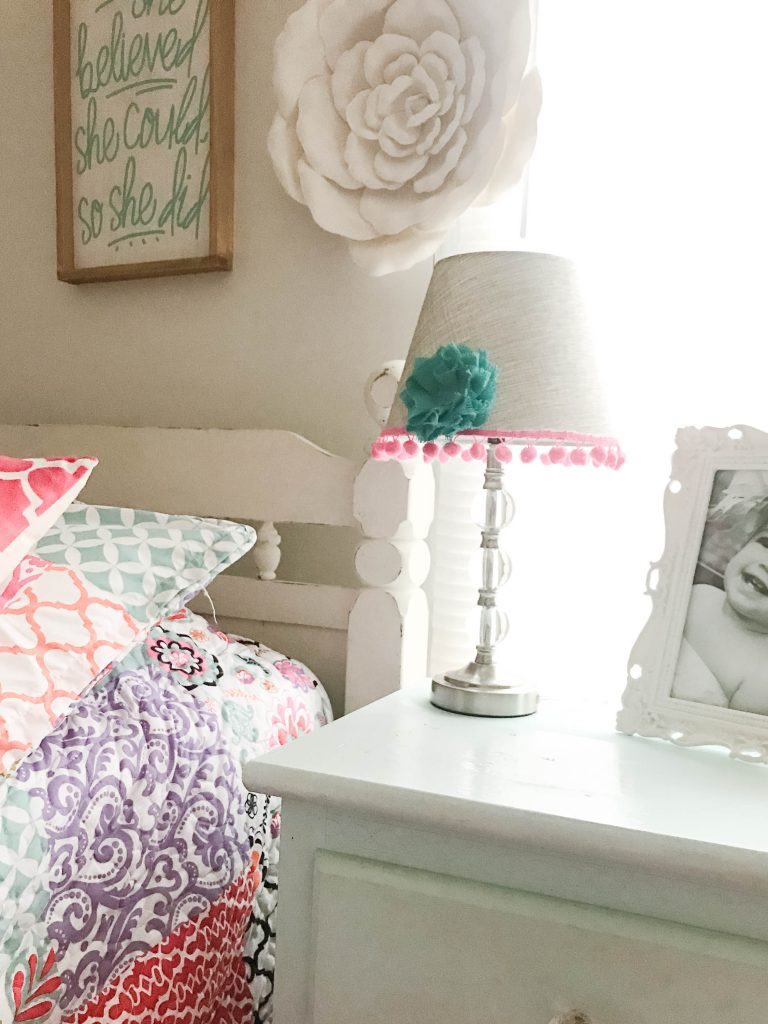 This super cute and easy DIY transformed this plain jane lamp makeover into the cutest accessory for this little girl's room!