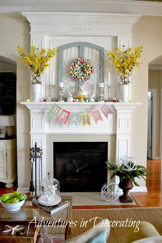(spring mantel) http://adventuresindecorating1.blogspot.com/2014/03/styling-our-spring-mantel.html