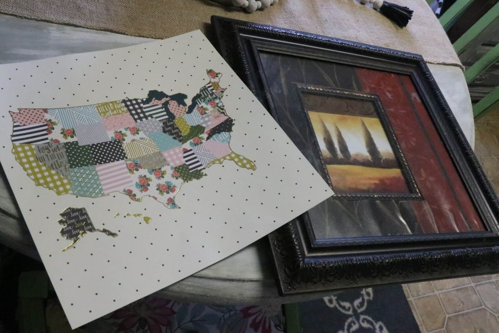 Add character to your home with this DIY scrapbook paper art and an old spray painted frame!
