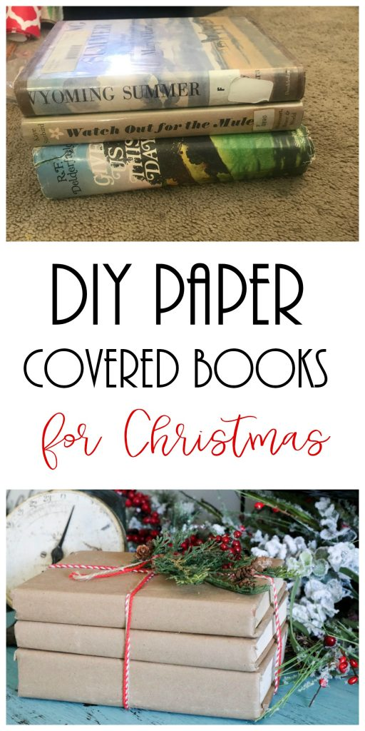 DIY Paper Covered Books for Christmas decor