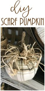 Make a super easy pumpkin with just a scarf, some sticks and a foam pumpkin!
