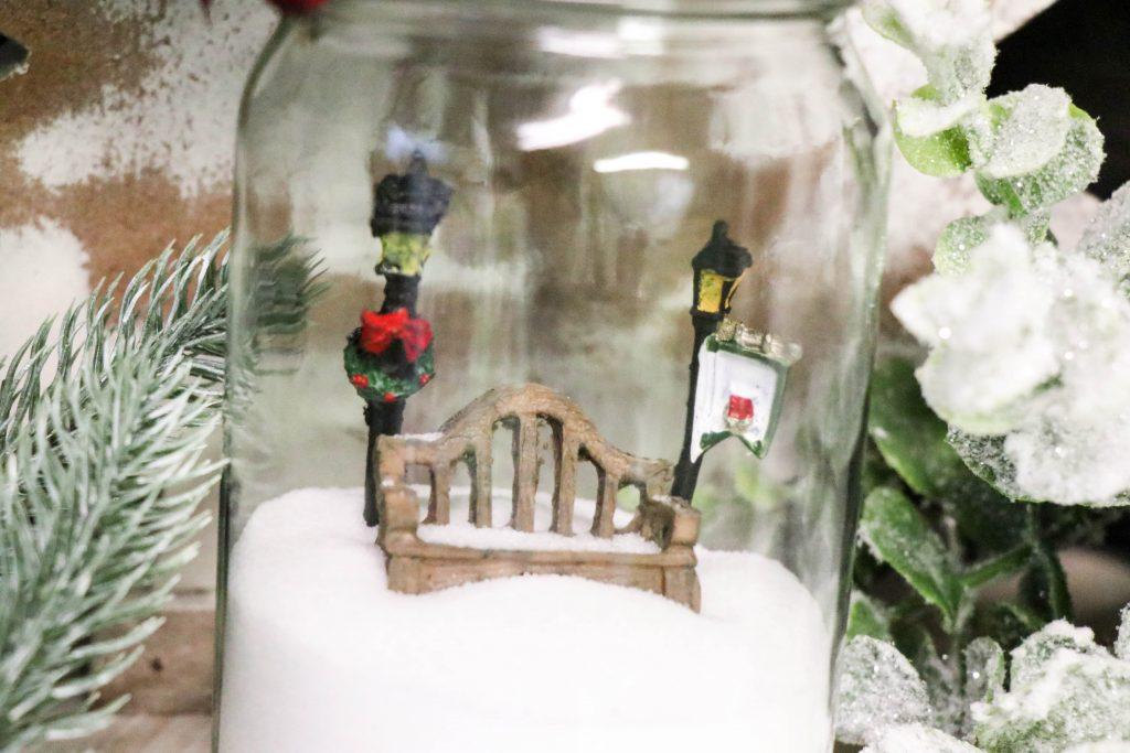 DIY Dollar Tree Jar made into a snow globe.