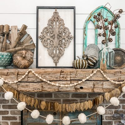 Rustic Boho Inspired Fall Mantel