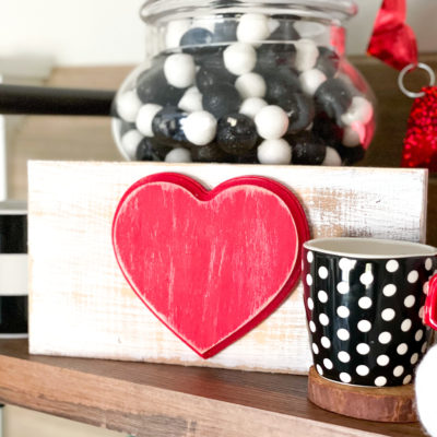 Dollar Tree heart shelf sitter