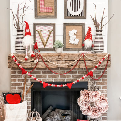 Valentines mantel (with diy LOVE sign)