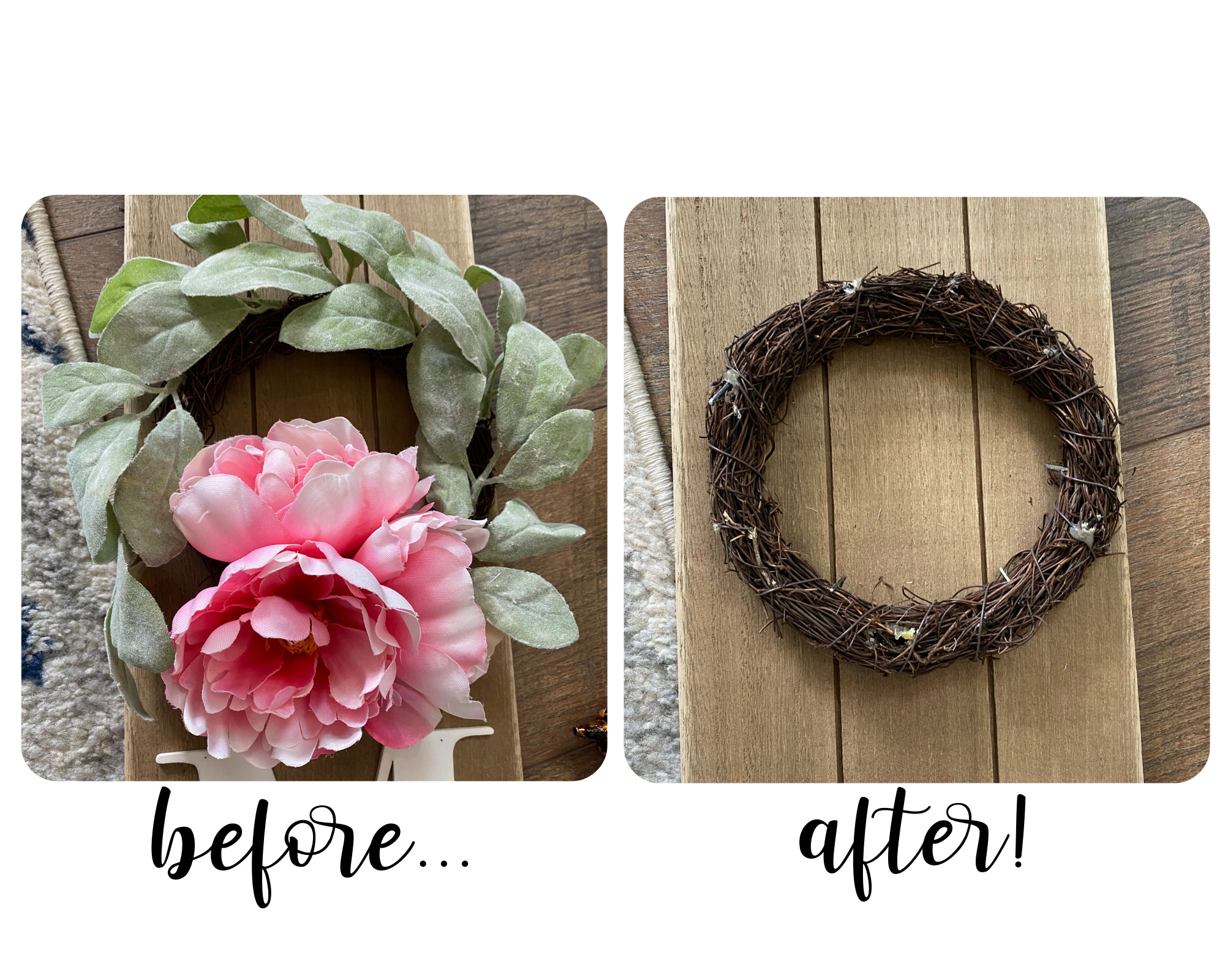before and after of wreath on big lot's welcome sign after deconstructing