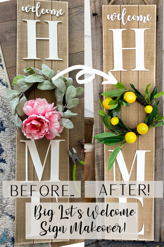 pinterest image for big lot's welcome sign makeover before and after