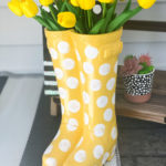 rubber boots planter makeover