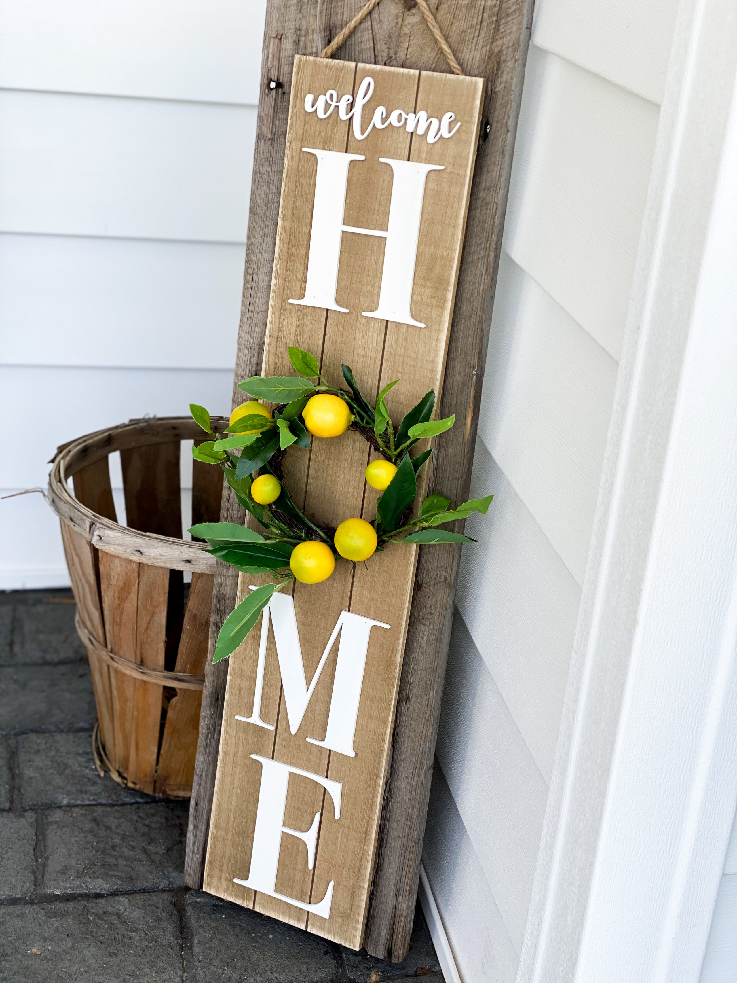 big lots welcome sign makeover using lemons for front porch