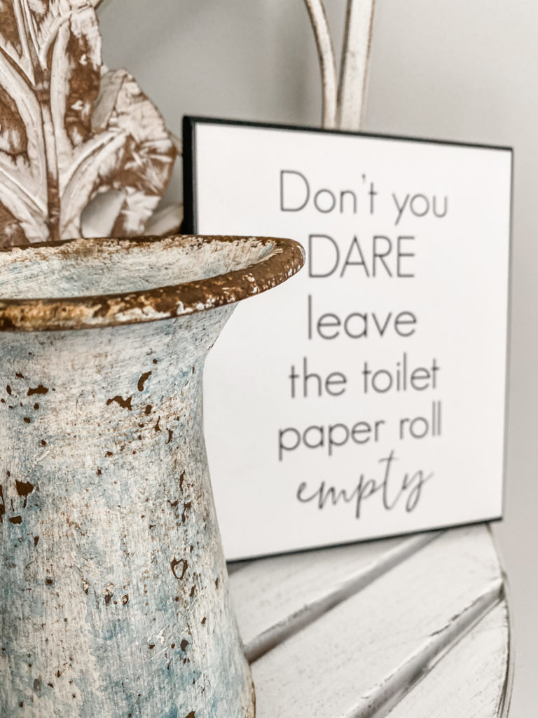 don't you dare leave the toilet paper roll empty sign