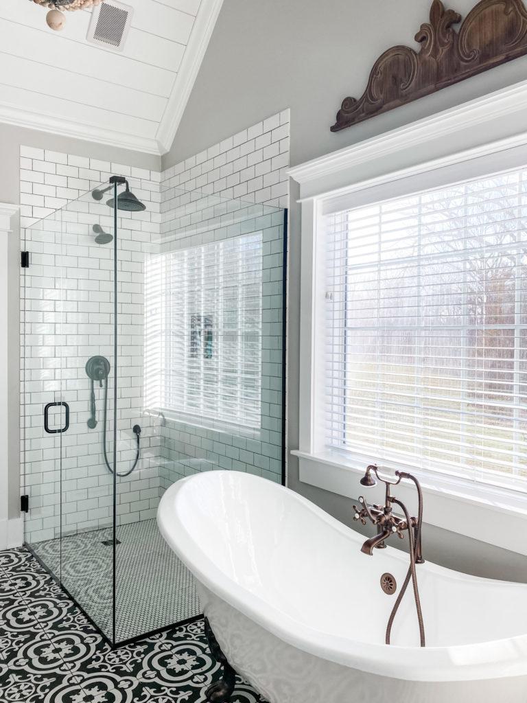 master bathroom clawfoot tub and shower