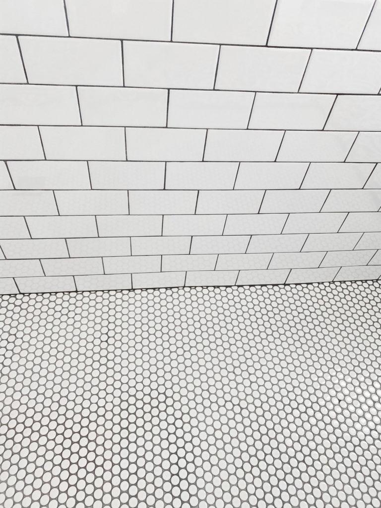 black and white tile shower