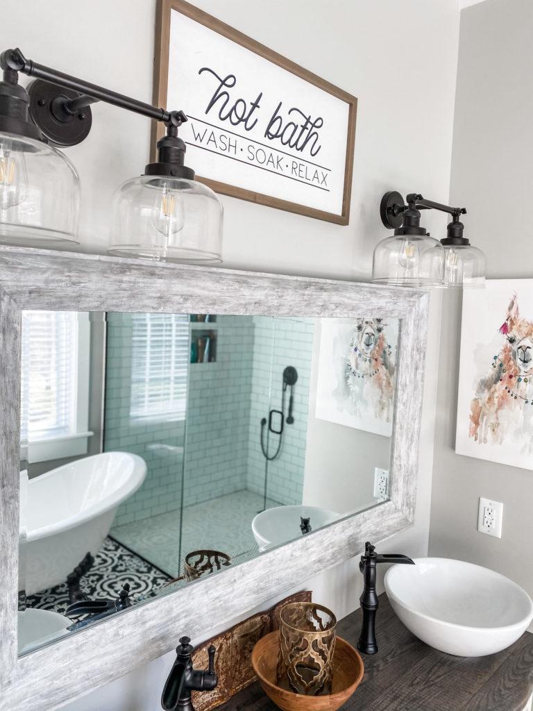 mirror in master bathroom