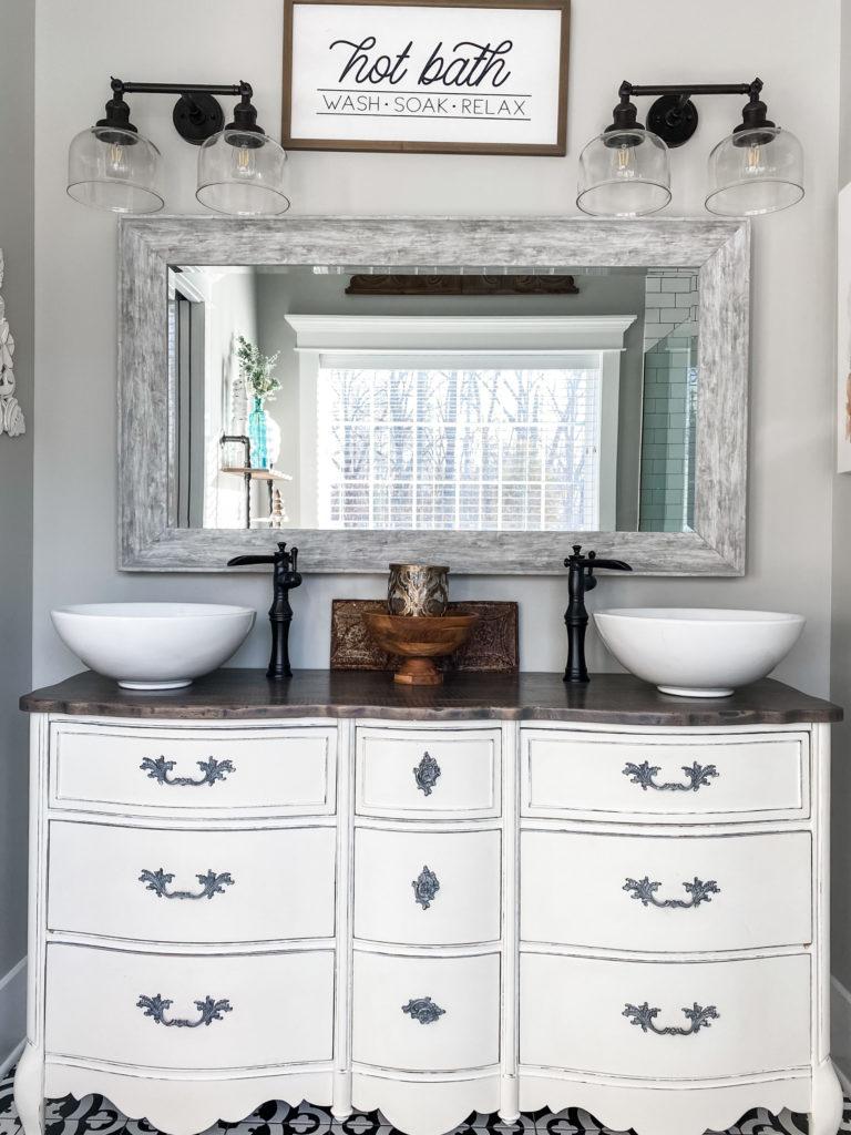 master bathroom dresser turned vanity