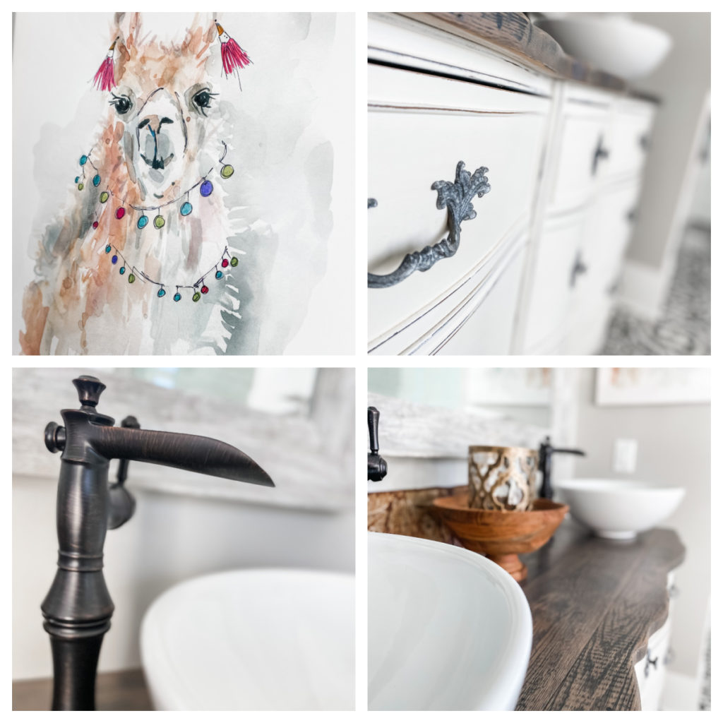 collage of different views of master bathroom