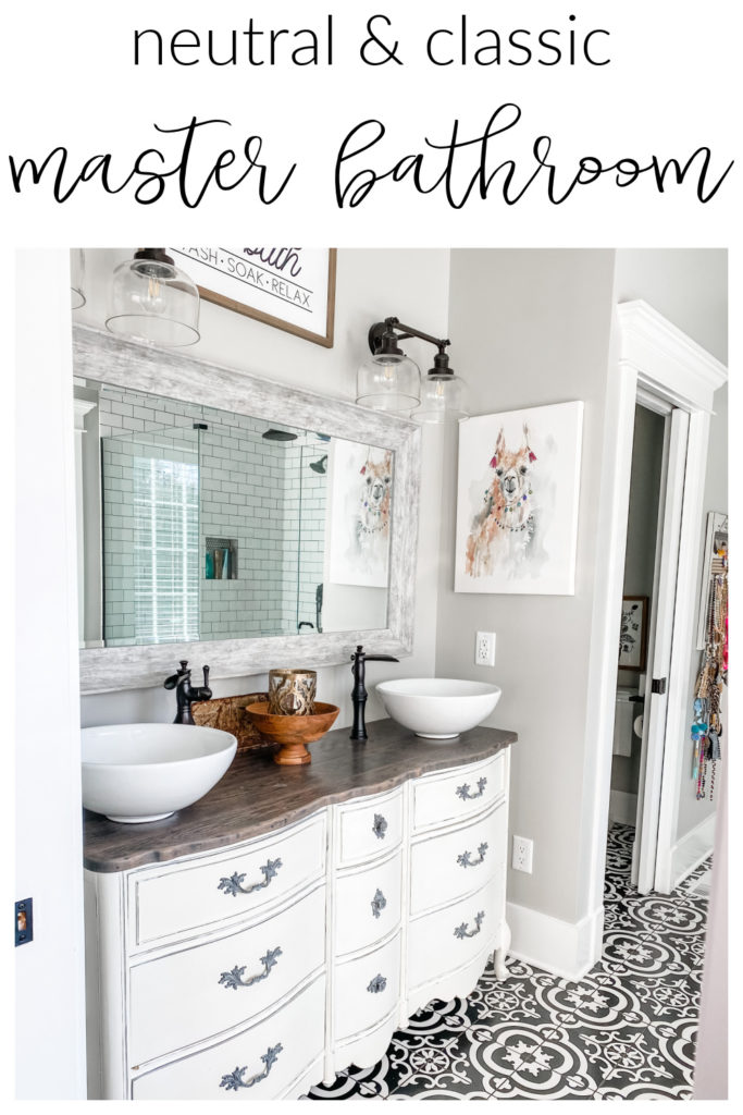 pinterest image of neutral and classic master bathroom