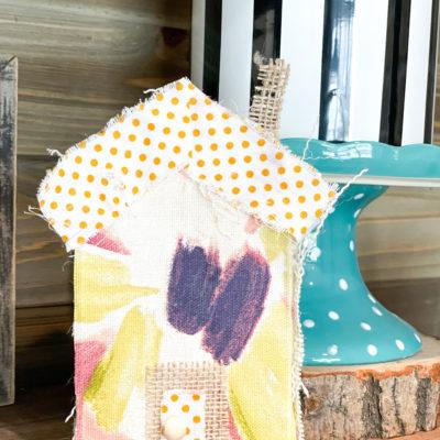 diy wood block fabric house