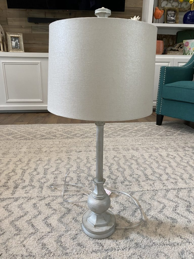 lamp before adding the drapery clip