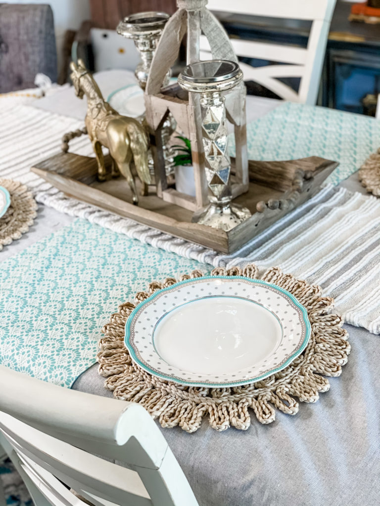 dining table with two table runners