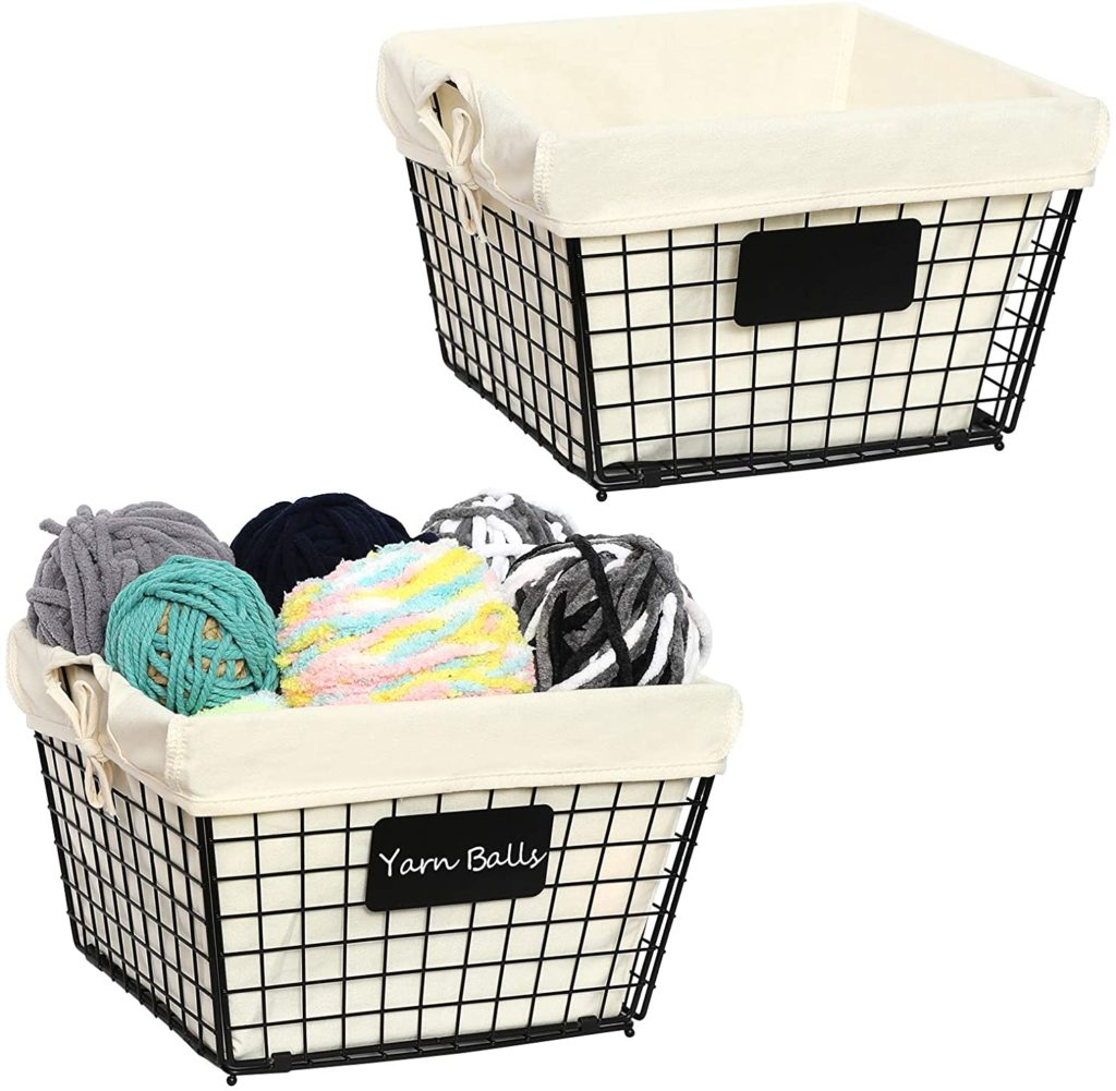 wire baskets used for laundry room makeover