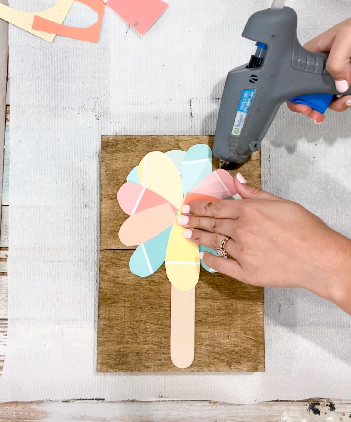 hot glue your petals down
