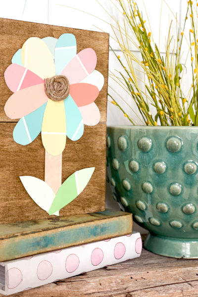 dollar tree paint chip flower sign