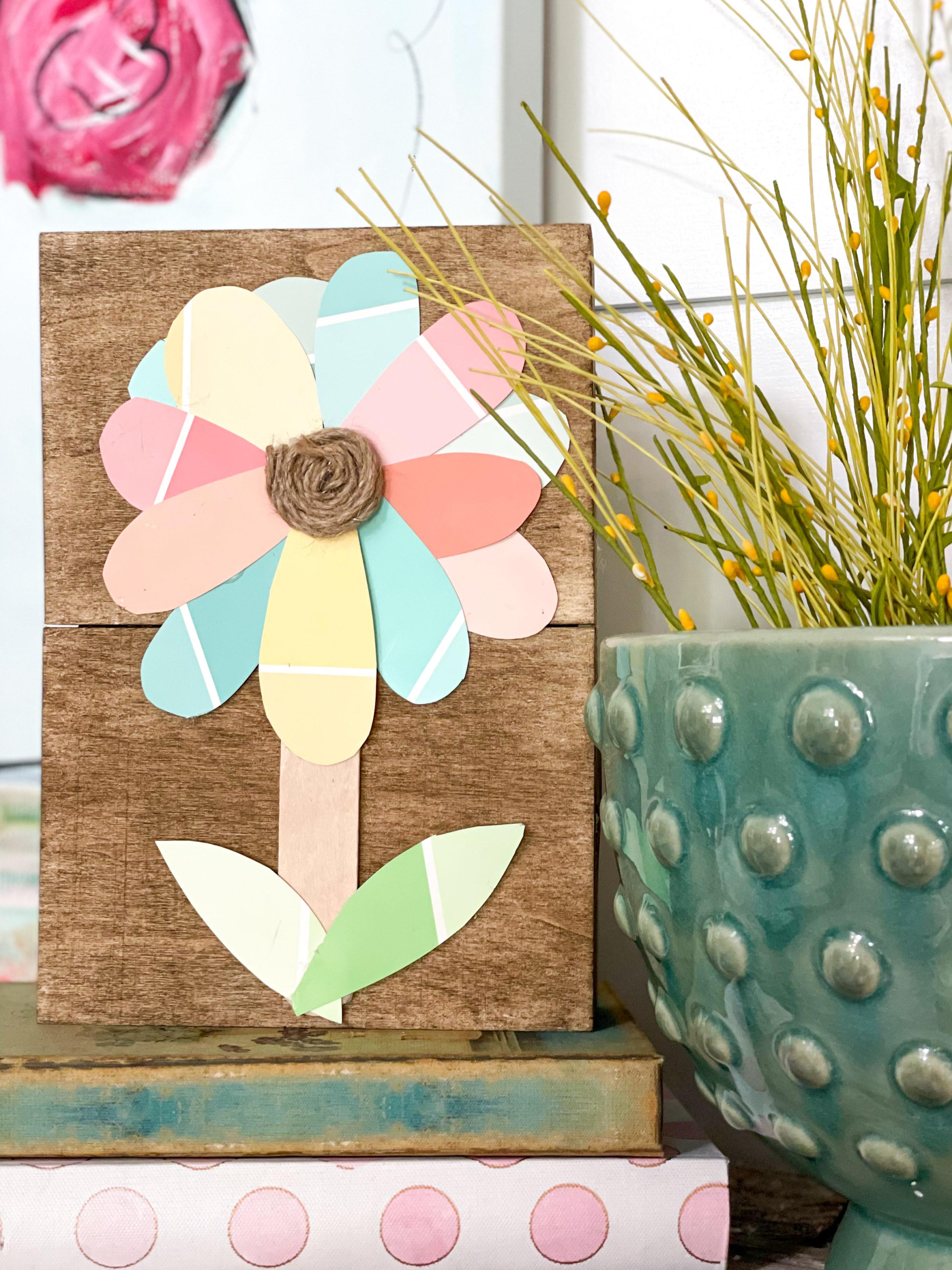 dollar tree paint chip flower sign