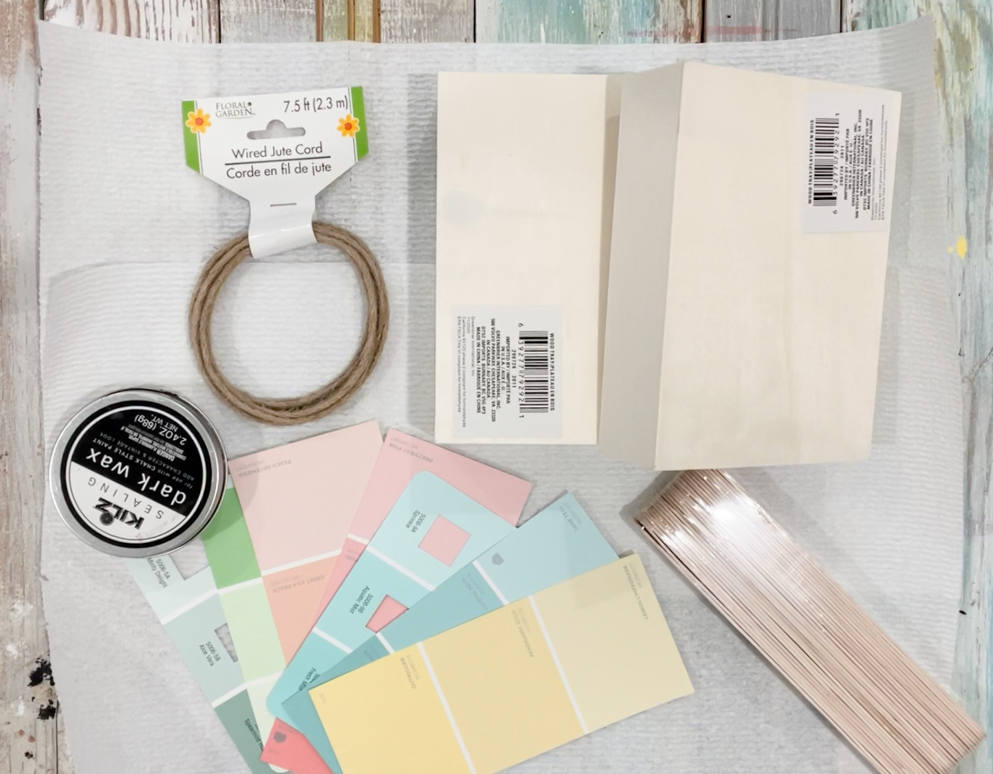 supplies to make the dollar tree paint chip sign