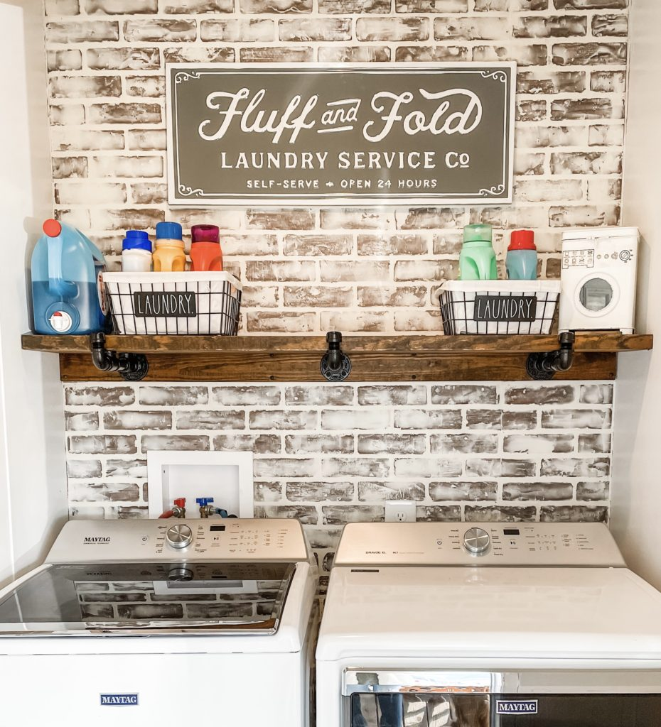 laundry room in a mobile home after with the german smear makeover