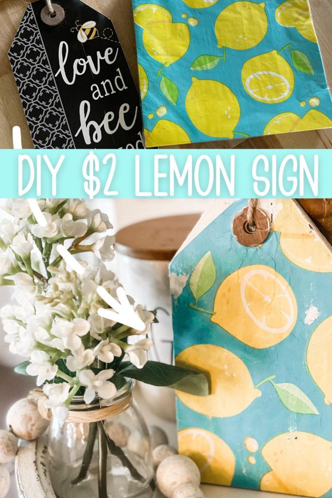 pinterest image for diy dollar store lemon sign