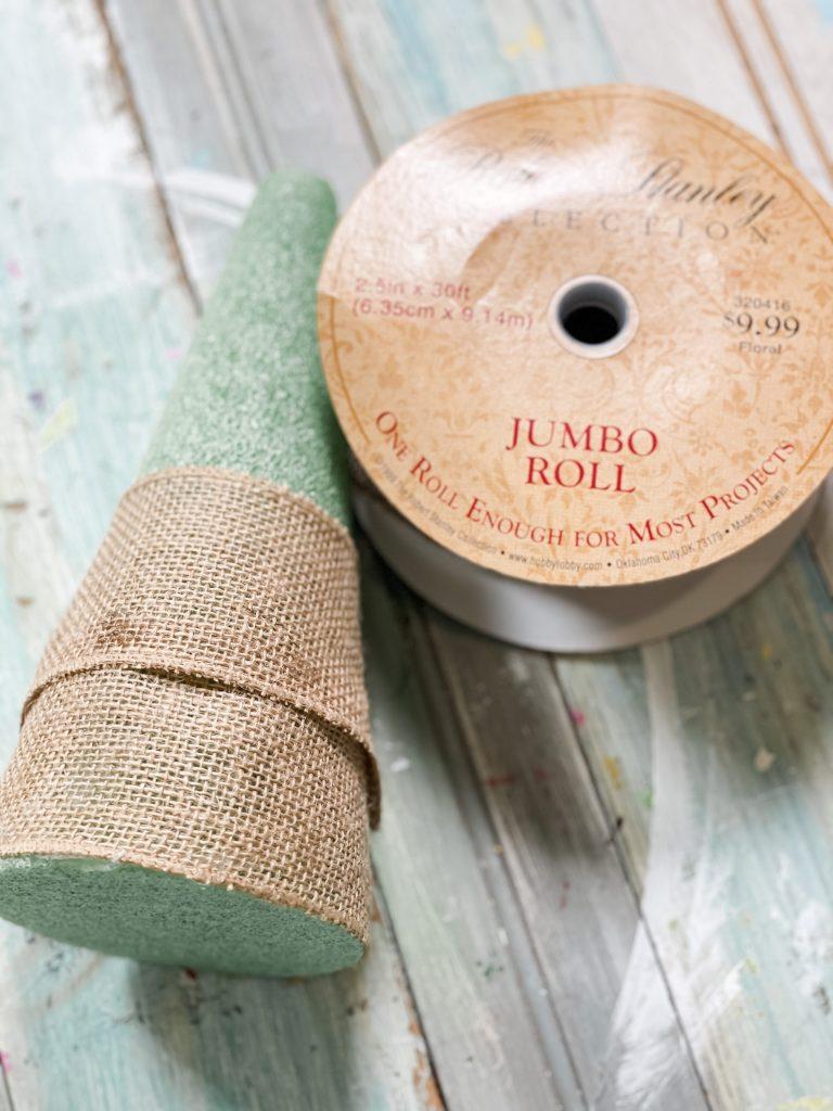 wrap burlap around base of the cone