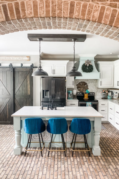 blue barstools from wayfair inside gorgeous kitchen