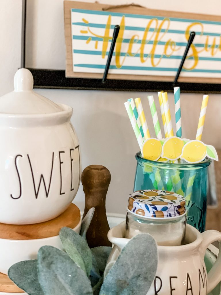 lemon themed coffee bar for small coffee bar
