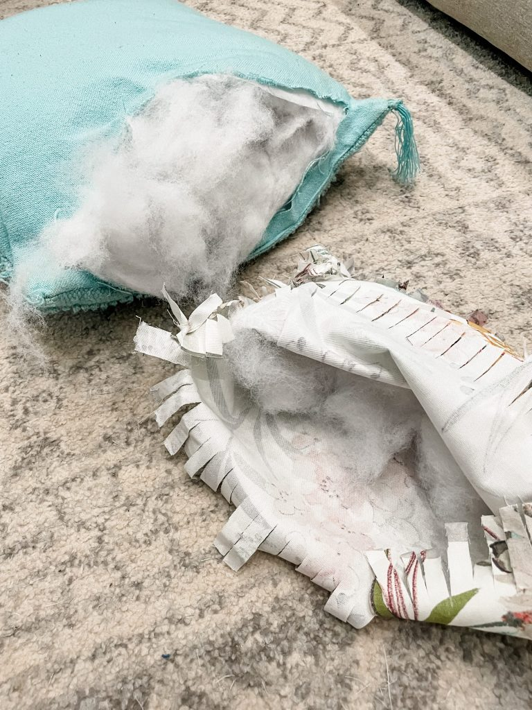 how to make a diy tied rag throw pillow - add the stuffing