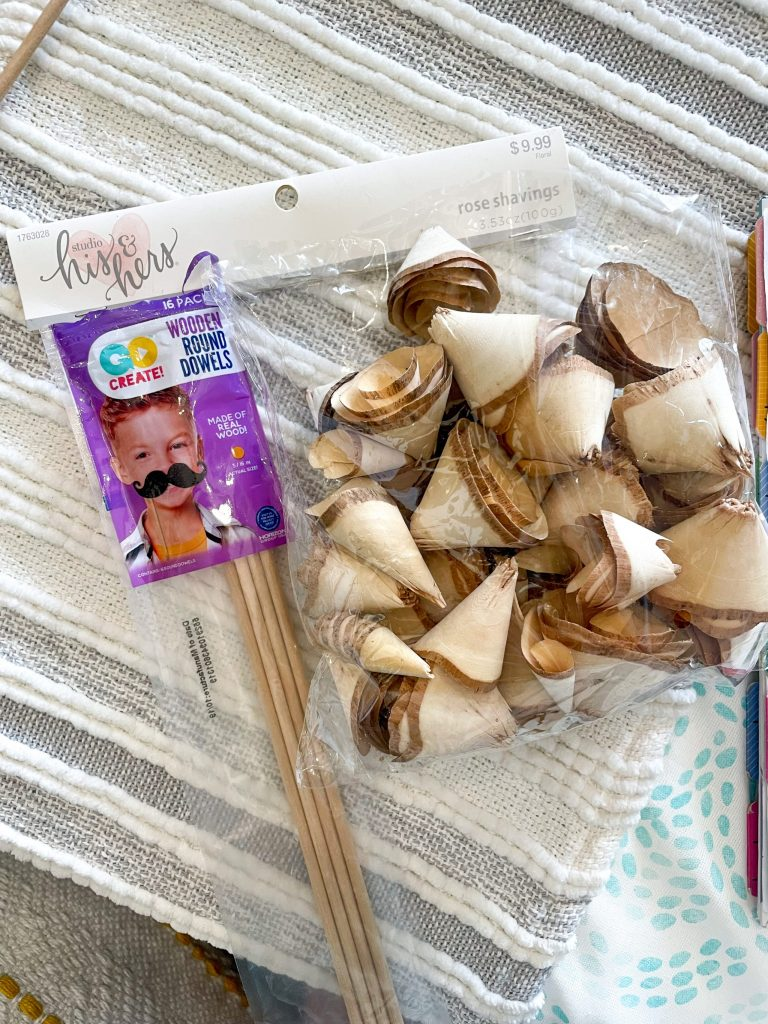 dowel rods and rose shavings for project