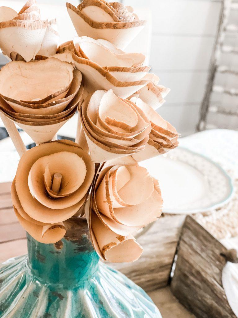 diy wooden rose shaving bouquet for table centerpiece
