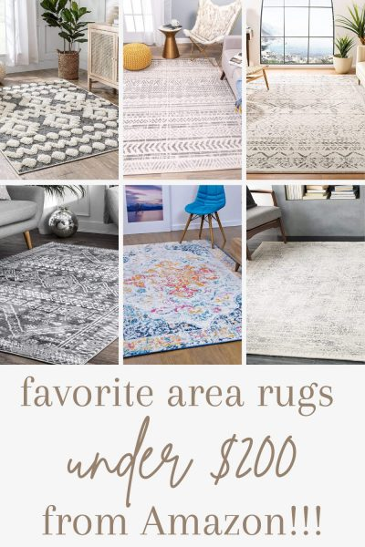 pinterest image for favorite area rugs on amazon under 200