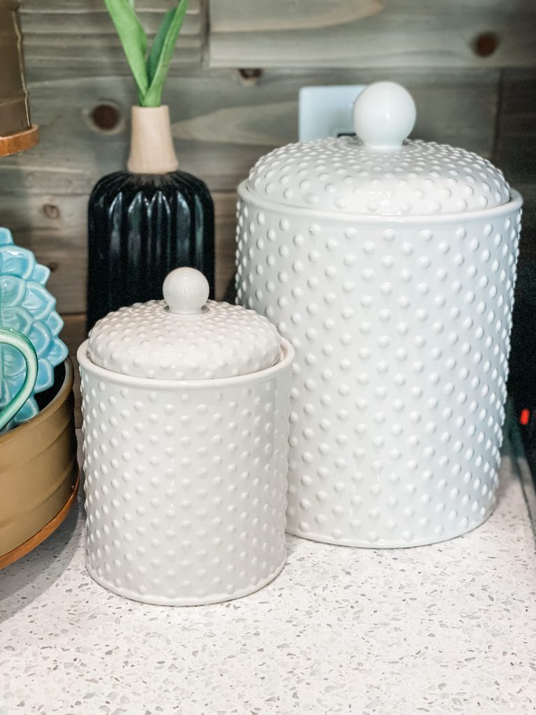 white canisters with dots burkes outlet