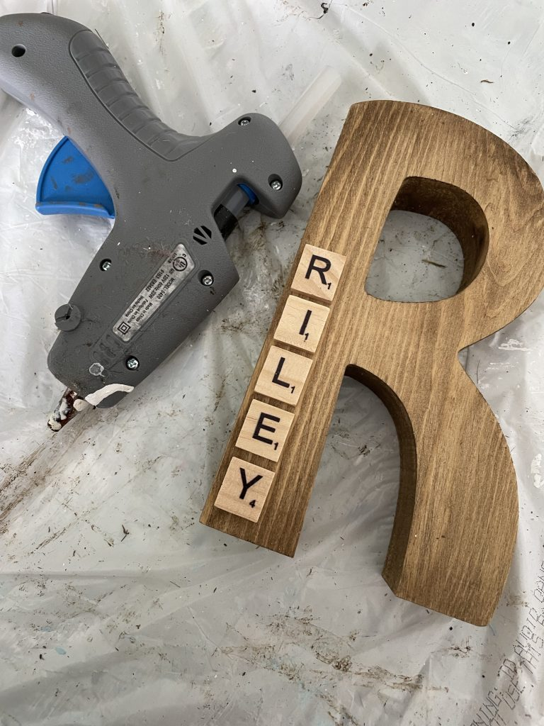 hot glue your scrabble tiles on