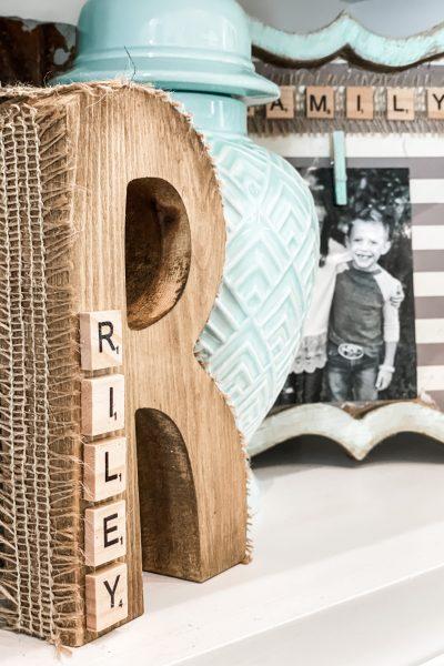 wooden letter scrabble decor