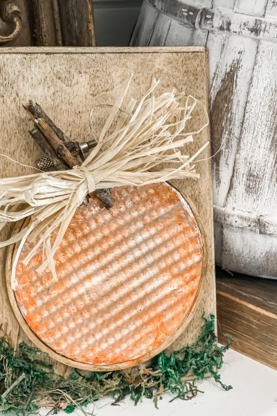 finished product of the rustic pumpkin decor