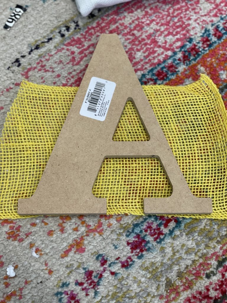 take your burlap and measure how much you'll need